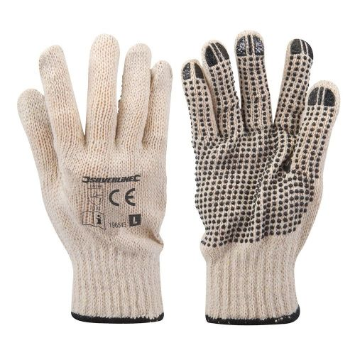 Silverline 196545 Single Sided Dot Safety Work Gloves Large